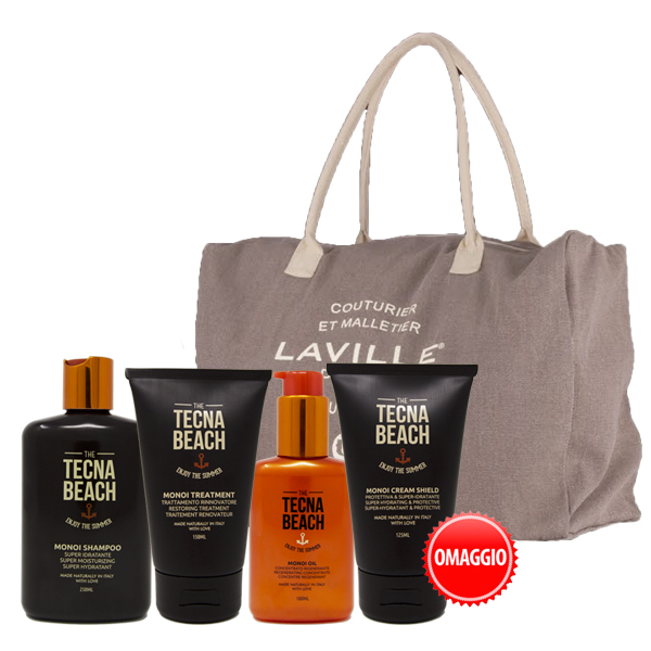 Tecna Beach Kit Monoi Shampoo + Treatment + Oil + IN OMAGGIO Borsone e Cream Shield